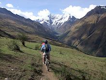 Riding an Epic trail near Mt. Salkantay in Peru